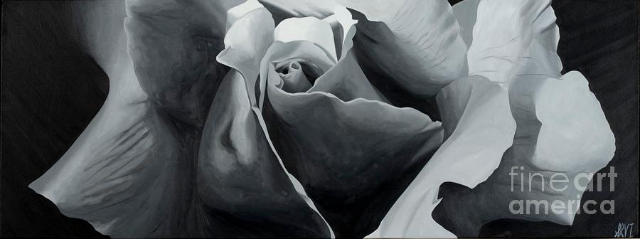 Black And White Rose Painting  - Black And White Rose Fine Art Print