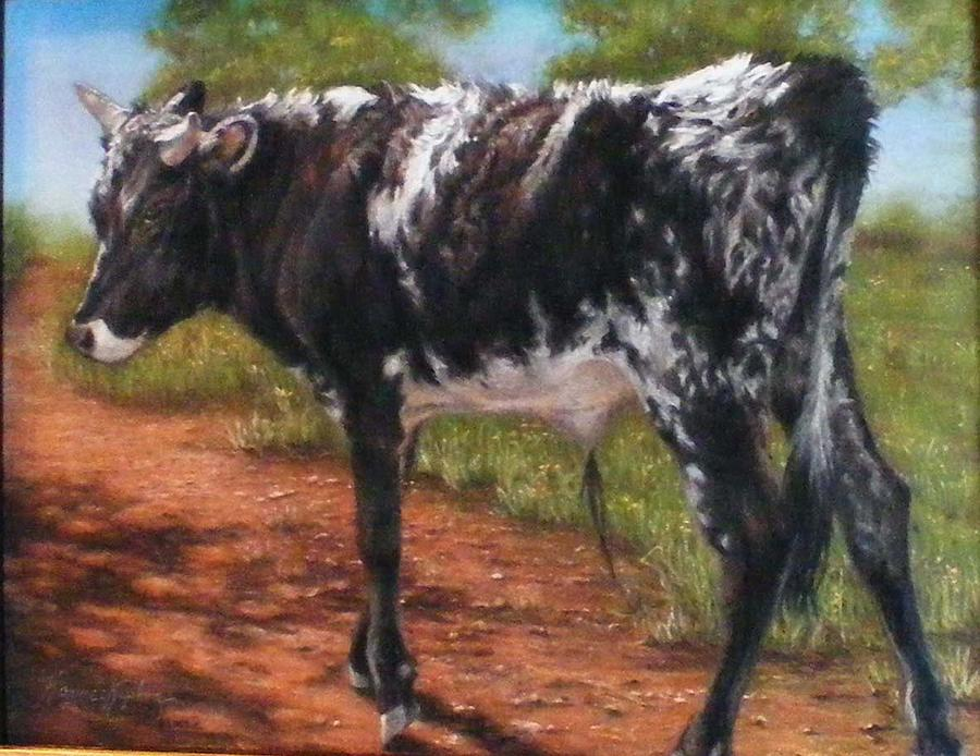 Black And White Shorthorn Steer Pastel  - Black And White Shorthorn Steer Fine Art Print
