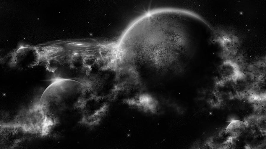black and white space art digital art