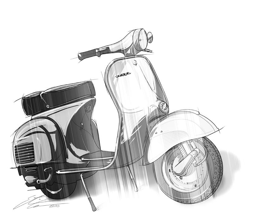 Black And White Vespa Digital Art