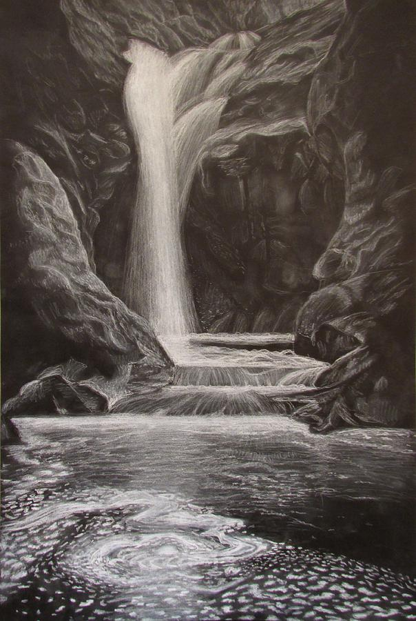 Black And White Waterfall Drawing  - Black And White Waterfall Fine Art Print