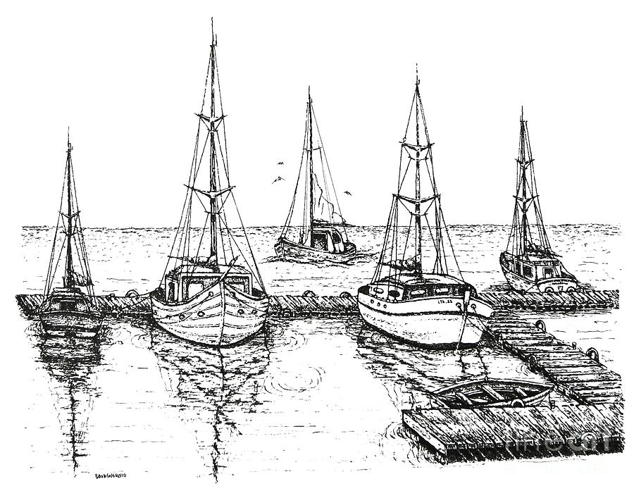 Black And White With Pen And Ink Drawing Of The Berth Drawing