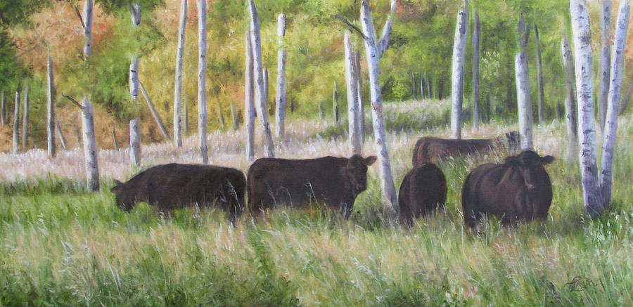 Black Angus Grazing Painting