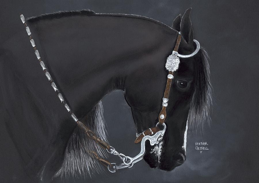 Black Arabian Pastel  - Black Arabian Fine Art Print