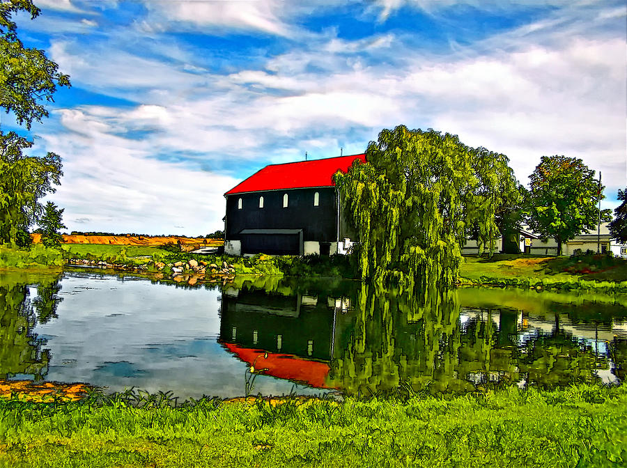 Black Barn Painted Photograph  - Black Barn Painted Fine Art Print