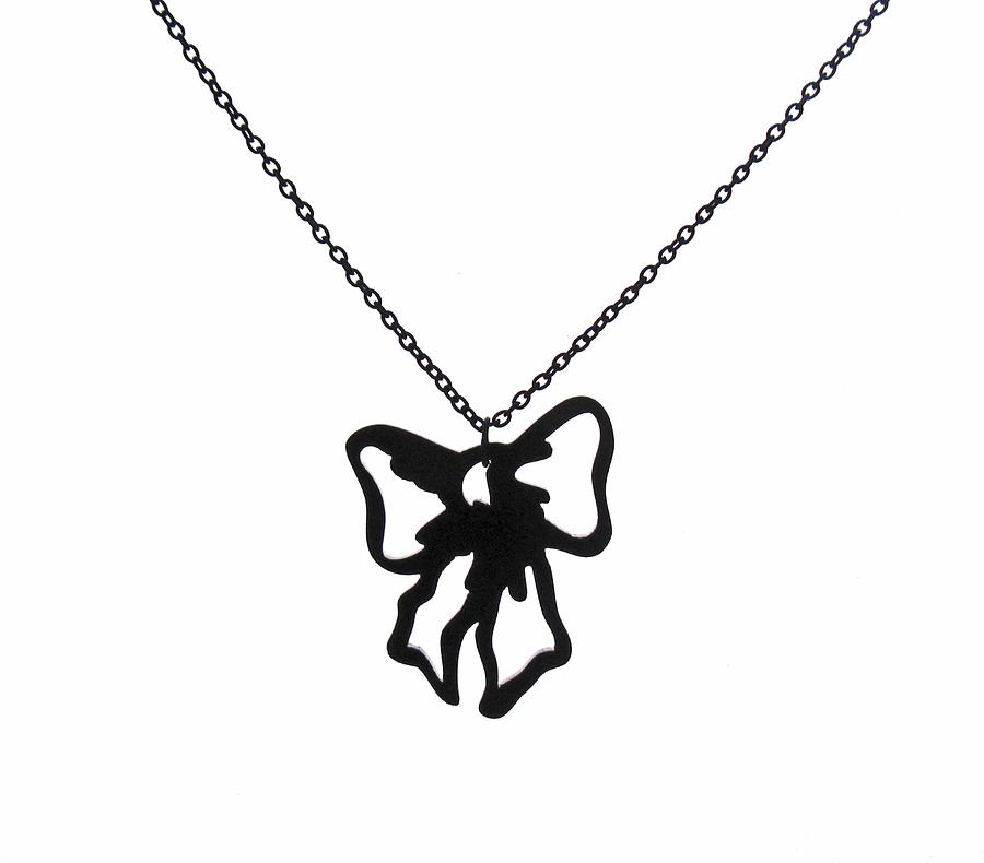 Black Bow Pendant Necklace Jewelry