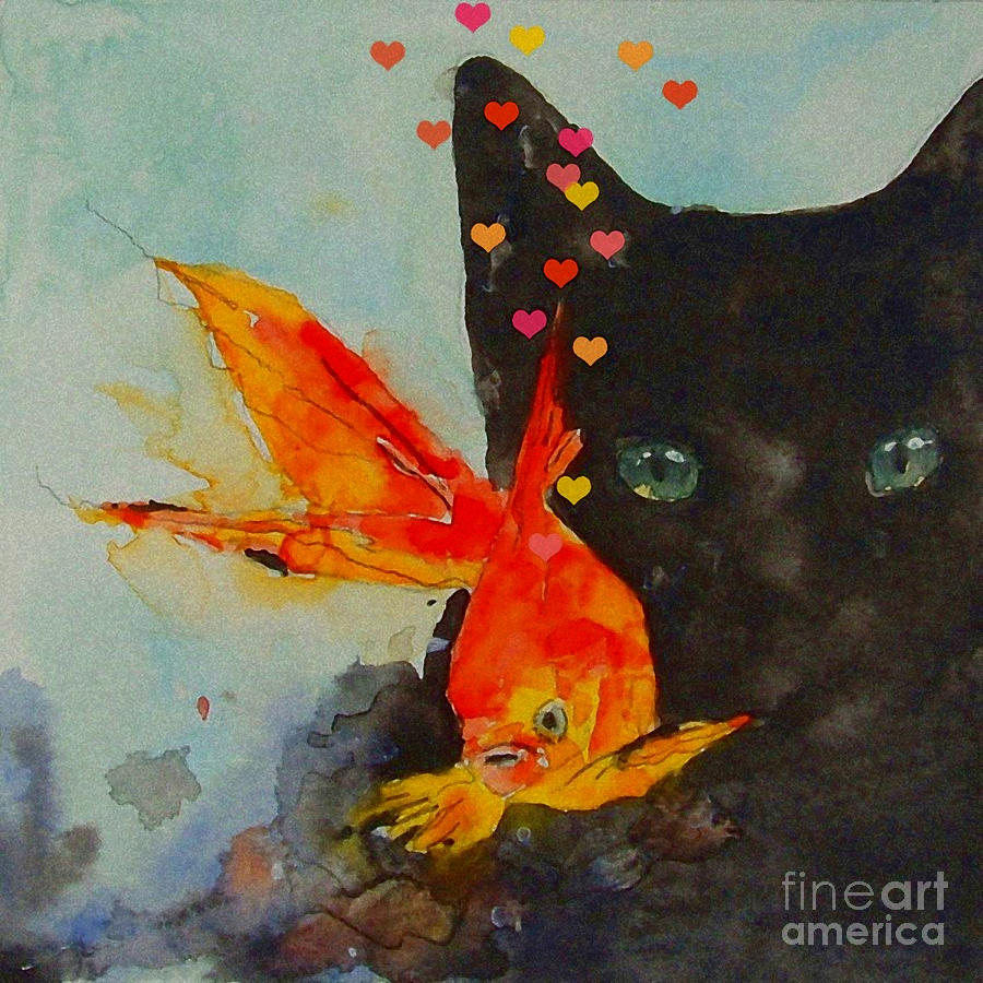 Black Cat  Painting - Black Cat And The Goldfish by Paul Lovering