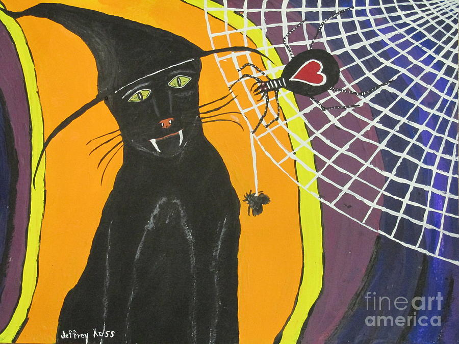 Black Cat In A Hat  Painting  - Black Cat In A Hat  Fine Art Print