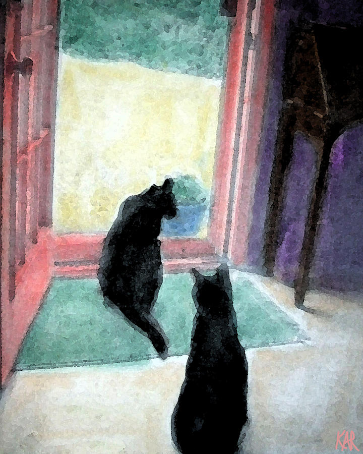 Black Cats Drawing  - Black Cats Fine Art Print