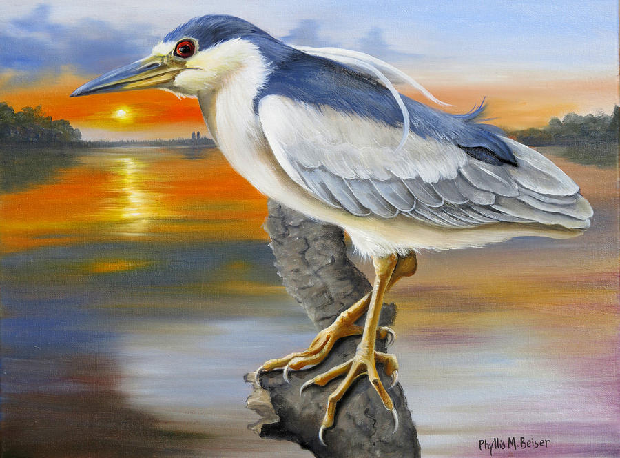 Black Crowned Night Heron At The Jordan Painting