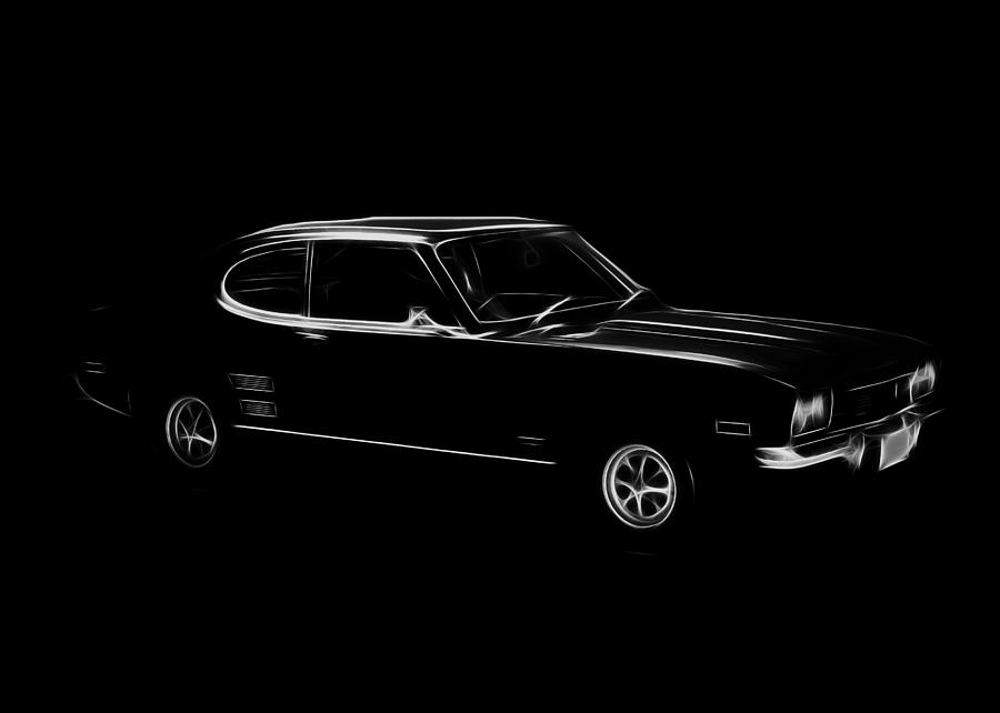 Black Ford Capri Digital Art  - Black Ford Capri Fine Art Print