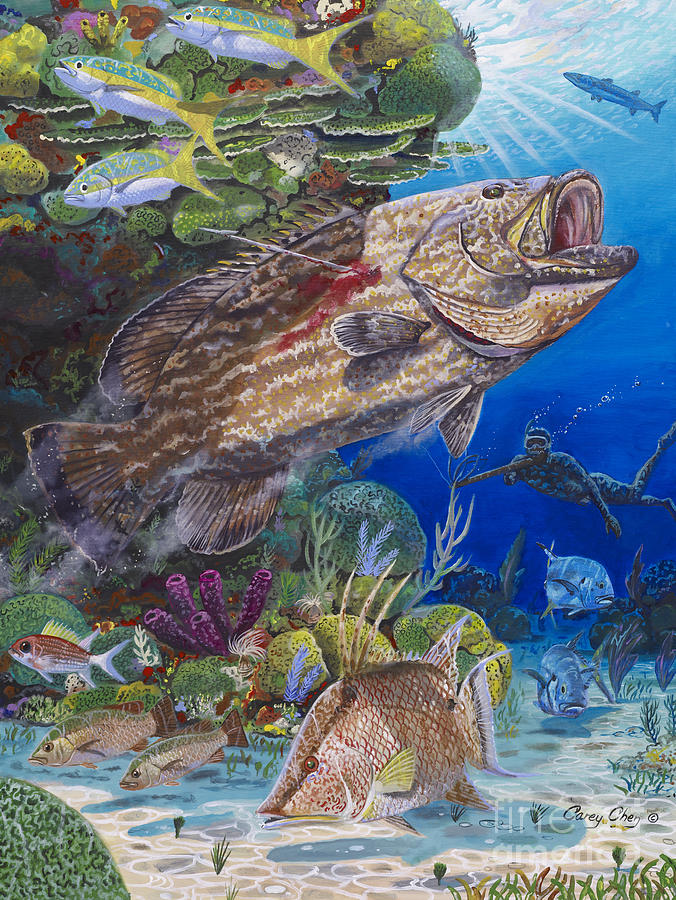 Black Grouper Hole Painting