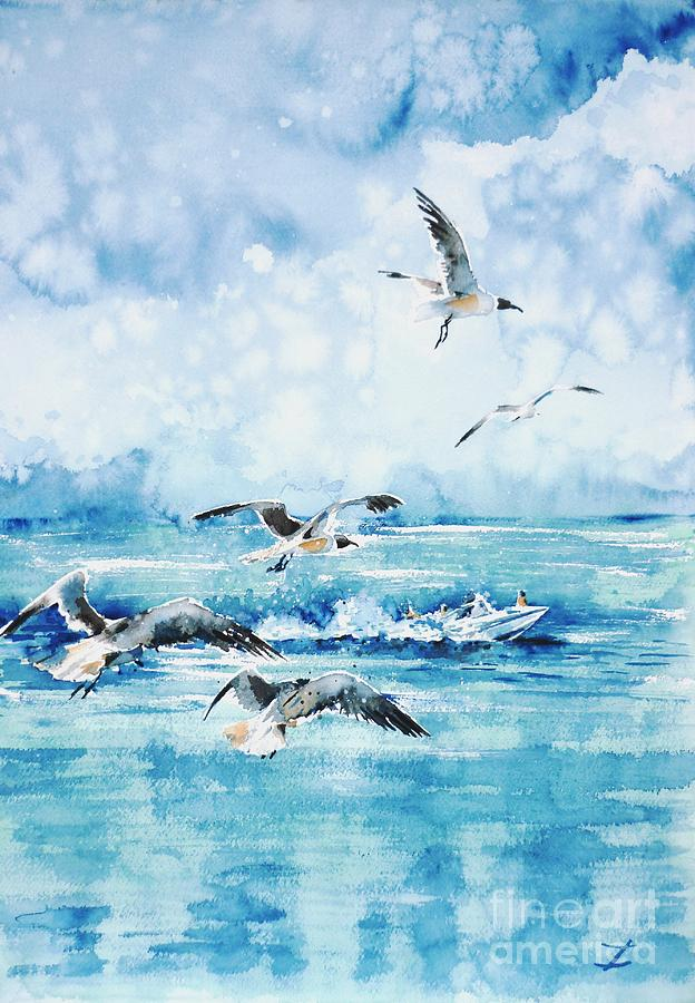 Black-headed Seagulls At Seven Seas Beach  Painting