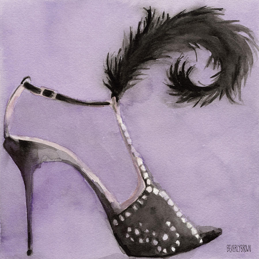 black high heel shoe with feather shoes paintings painting