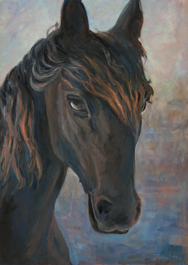 Horse Painting - Black Horse by Marco Busoni