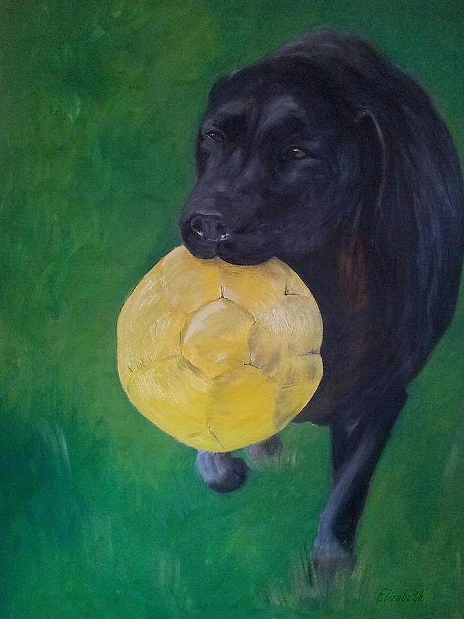 Black Labrador Commission Painting Painting  - Black Labrador Commission Painting Fine Art Print