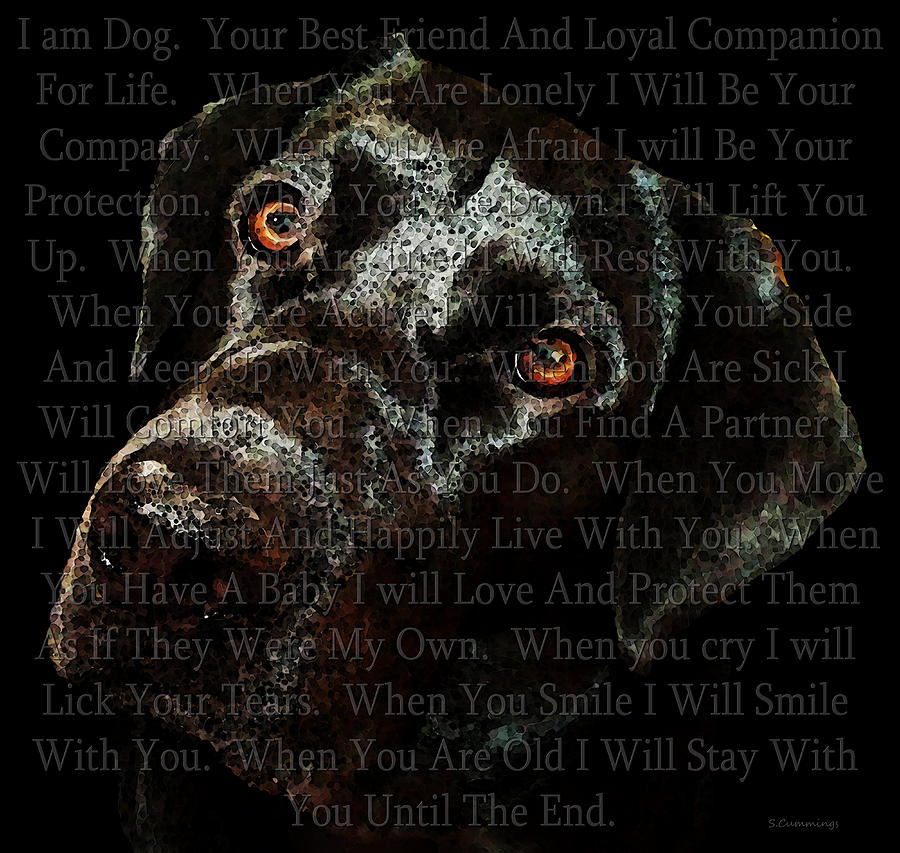 Black Labrador Retriever Dog Art - I Am Dog Painting