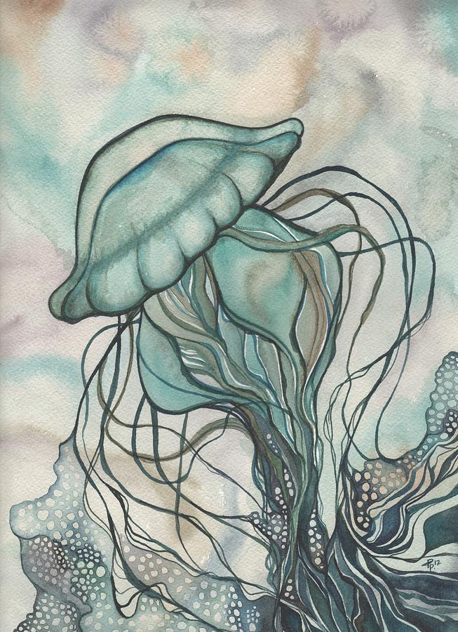 Black Lung Green Jellyfish Painting