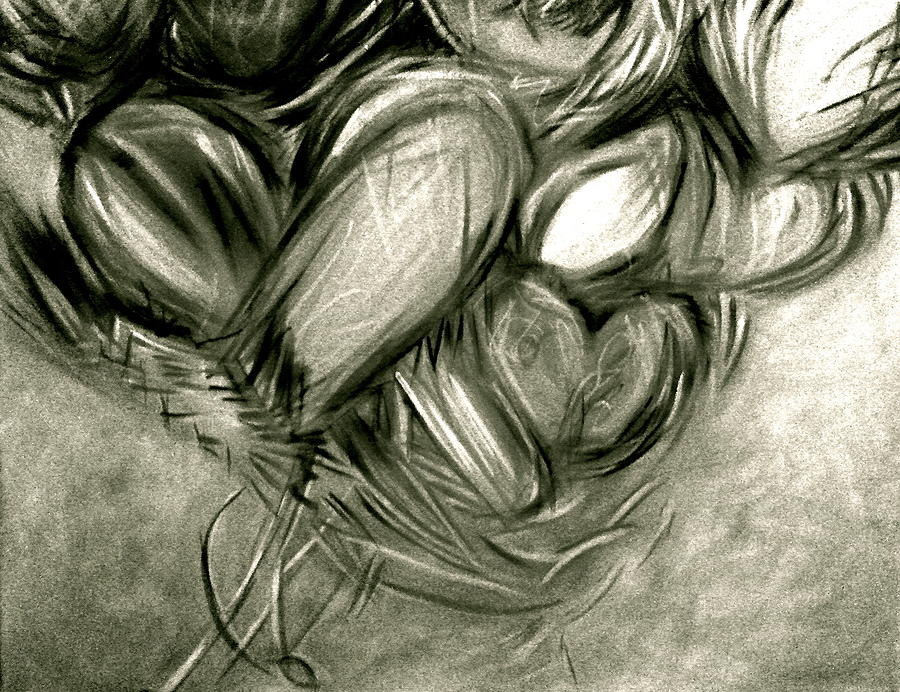 Black N White-hearts Soar-thinking Of You Painting
