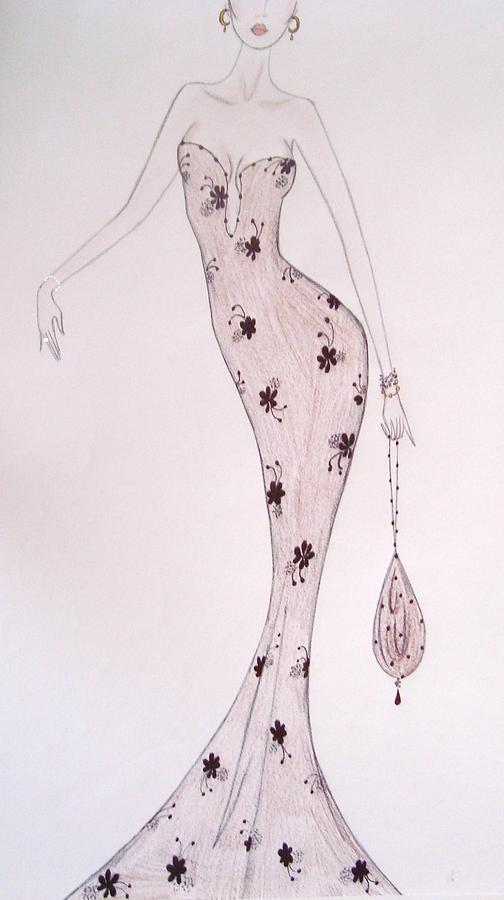 Orchids And Flowers Drawing - Black Orchid Gown by Christine Corretti