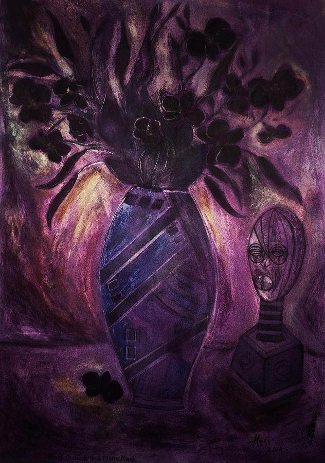 Black Orchids And Moon Mask Painting
