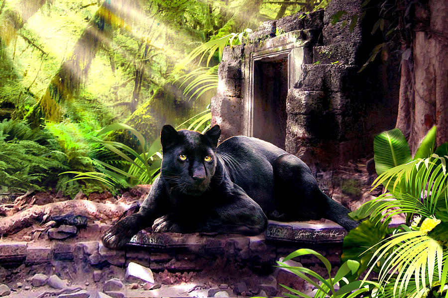 Black Panther Custodian Of Ancient Temple Ruins  Painting