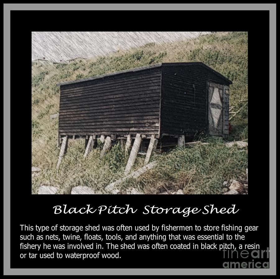 Black Pitch Storage Shed Digital Art  - Black Pitch Storage Shed Fine Art Print