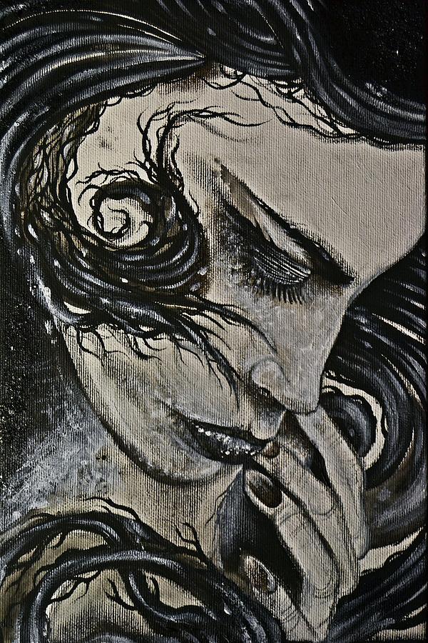 Woman Painting - Black Portrait 4 by Sandro Ramani