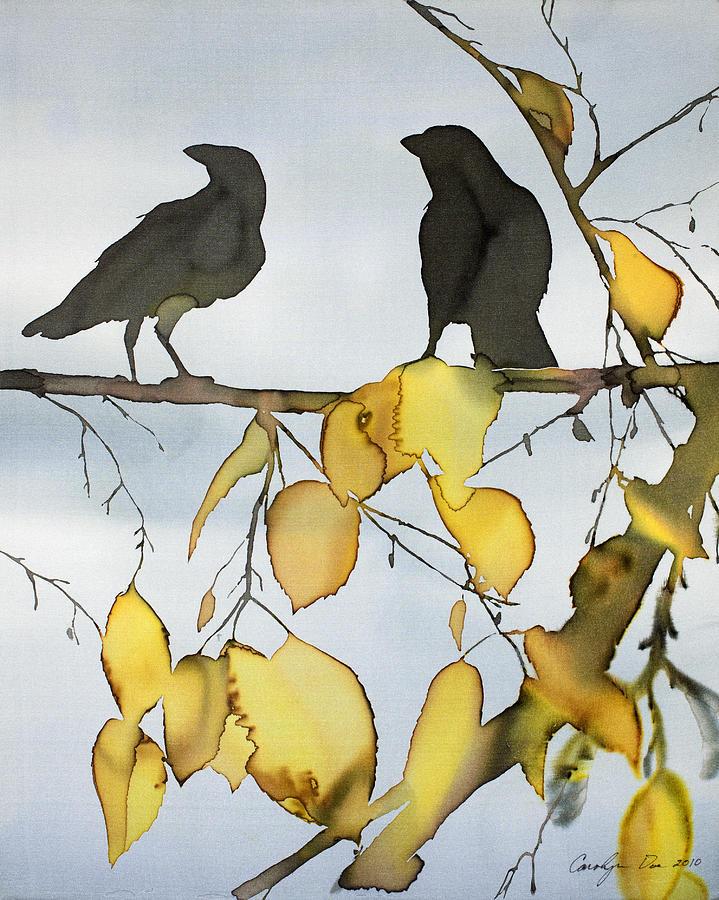 Ravens Tapestry - Textile - Black Ravens In Birch by Carolyn Doe
