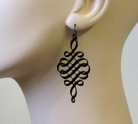 Black Spiral Earrings Jewelry