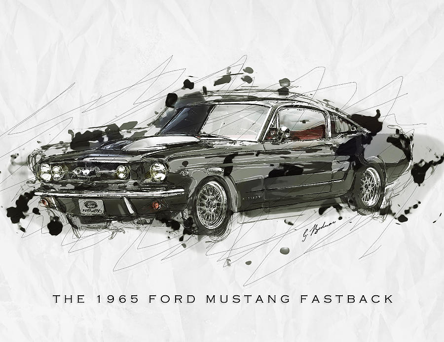black stallion 1965 ford mustang fastback  2 digital art