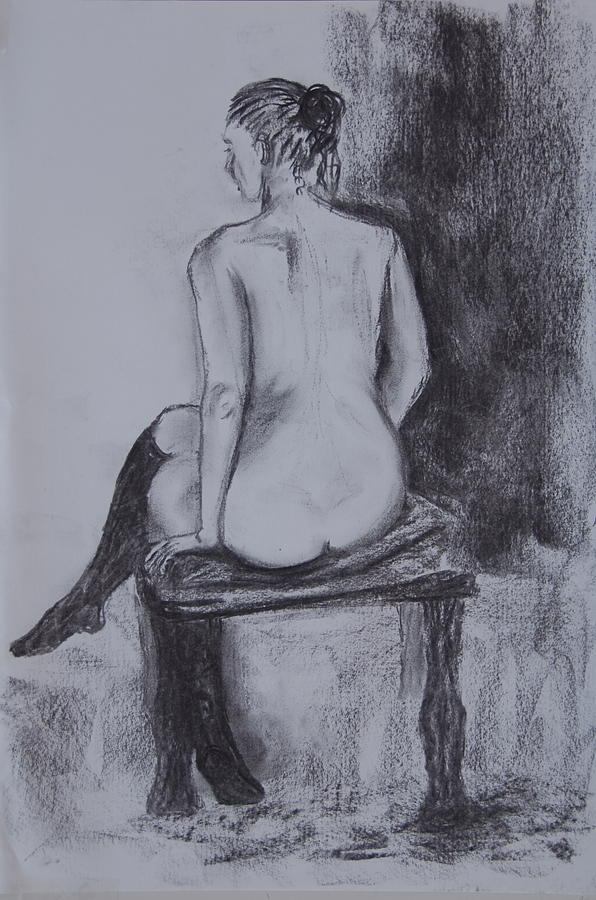 Girl Drawing - Black Stockings by Jolanta Benson
