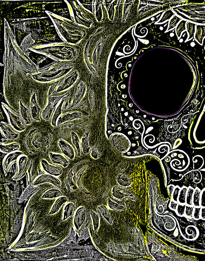 This Series Was Done For The  Dia De Los Muertos Marigold Festival In 2013 In Sedona Painting - Black Sunflower Skull by Lovejoy Creations