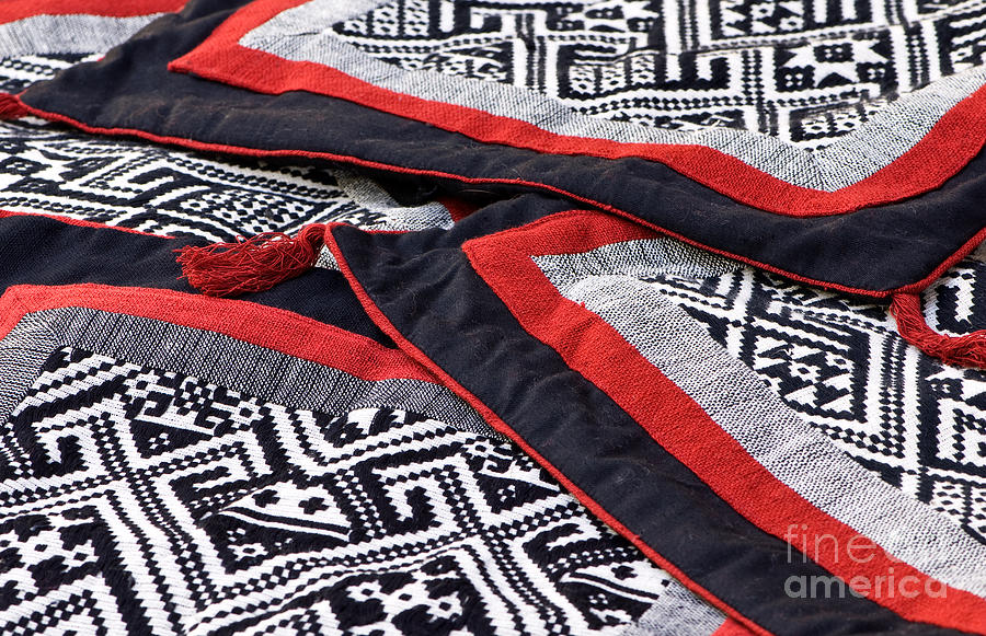 Black Thai Fabric 04 Photograph  - Black Thai Fabric 04 Fine Art Print