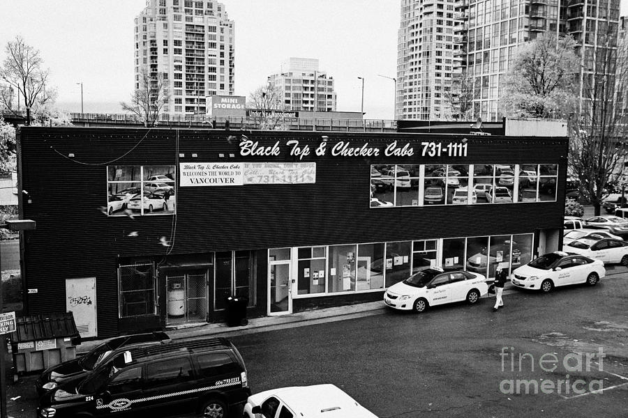 black top and checker cabs office Vancouver BC Canada Photograph