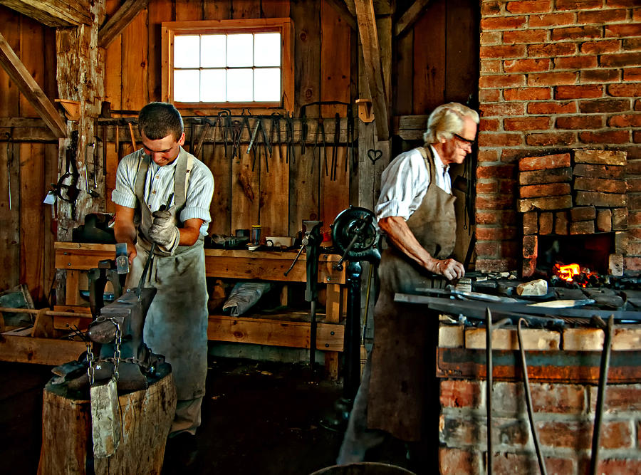 Blacksmith And Apprentice Photograph