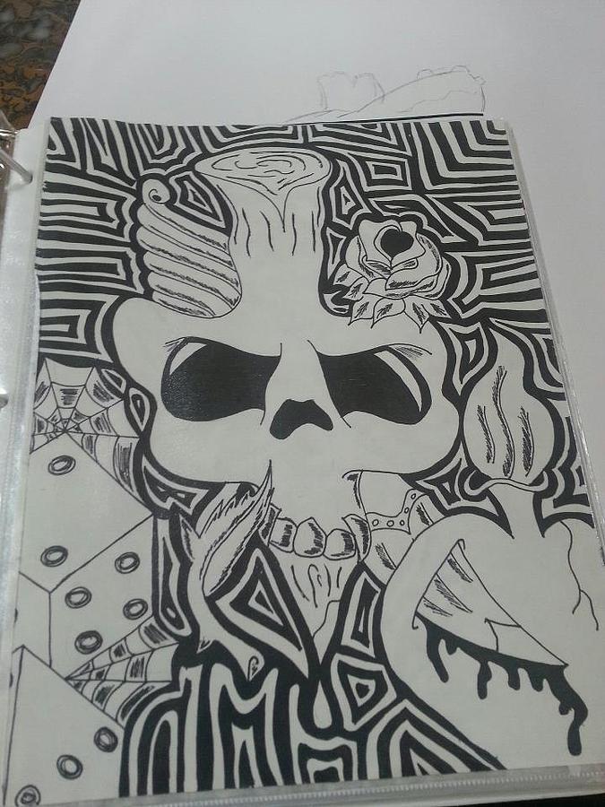 Skullsheartsdice Drawing - Blah by Kristin Smith