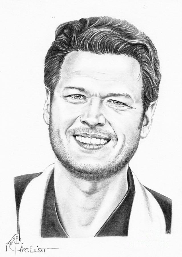 Pencil Drawing - Blake Shelton by Murphy Elliott