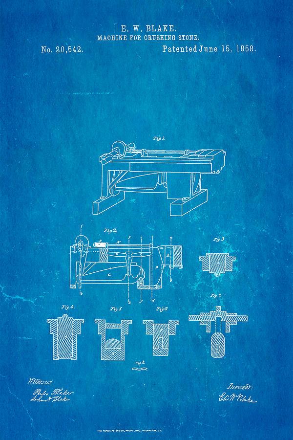 Blake Stone Crushing Patent 1858 Blueprint Photograph