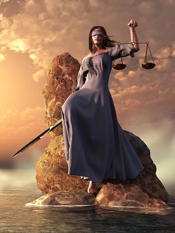 Blind Justice With Scales And Sword Digital Art