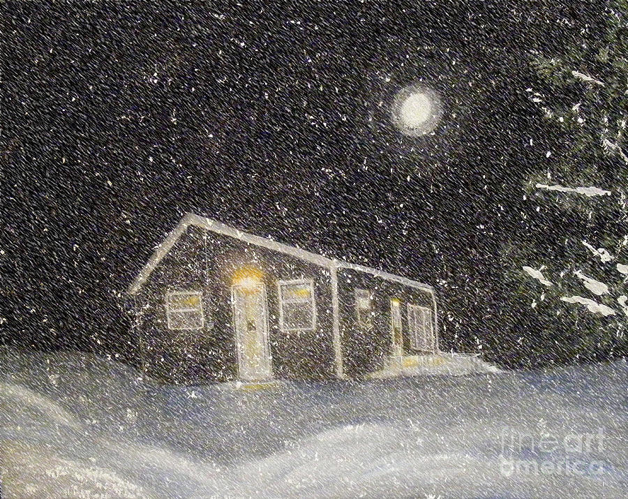 Blizzard At The Cabin Painting