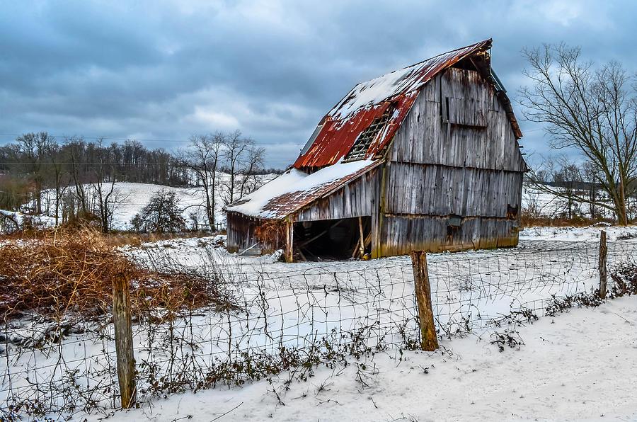 Photograph - Blizzard Barn by Brian Stevens