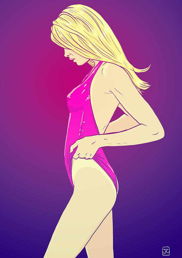 Blond Girl In Swimsuit Drawing