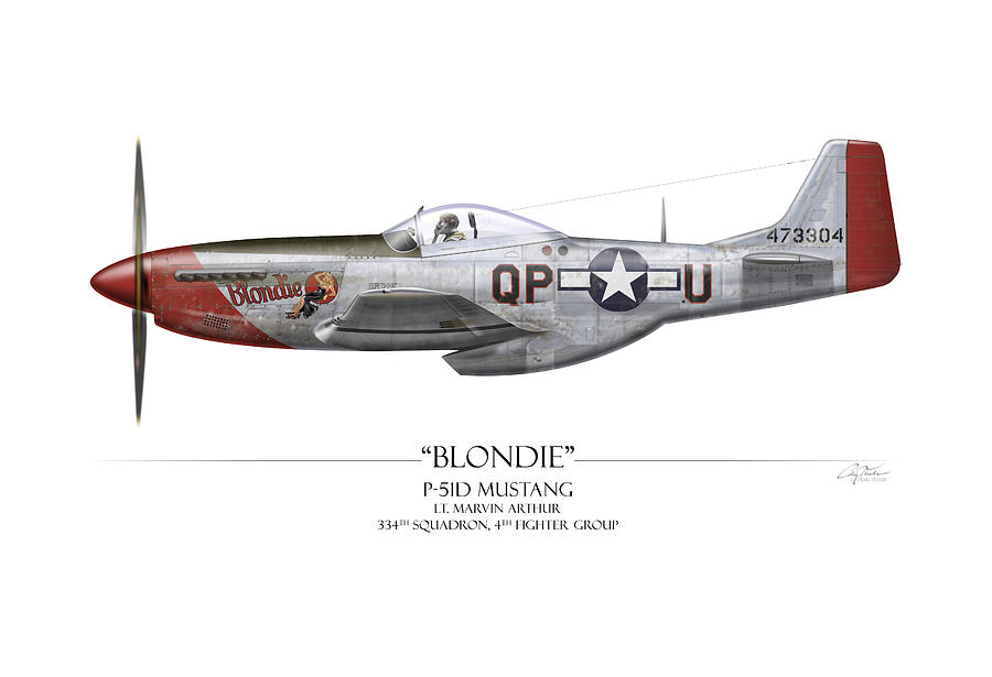 Aviation Painting - Blondie P-51d Mustang - White Background by Craig Tinder