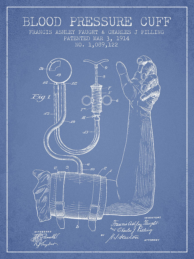 Medical Device Drawing - Blood Pressure Cuff Patent From 1914 -light Blue by Aged Pixel