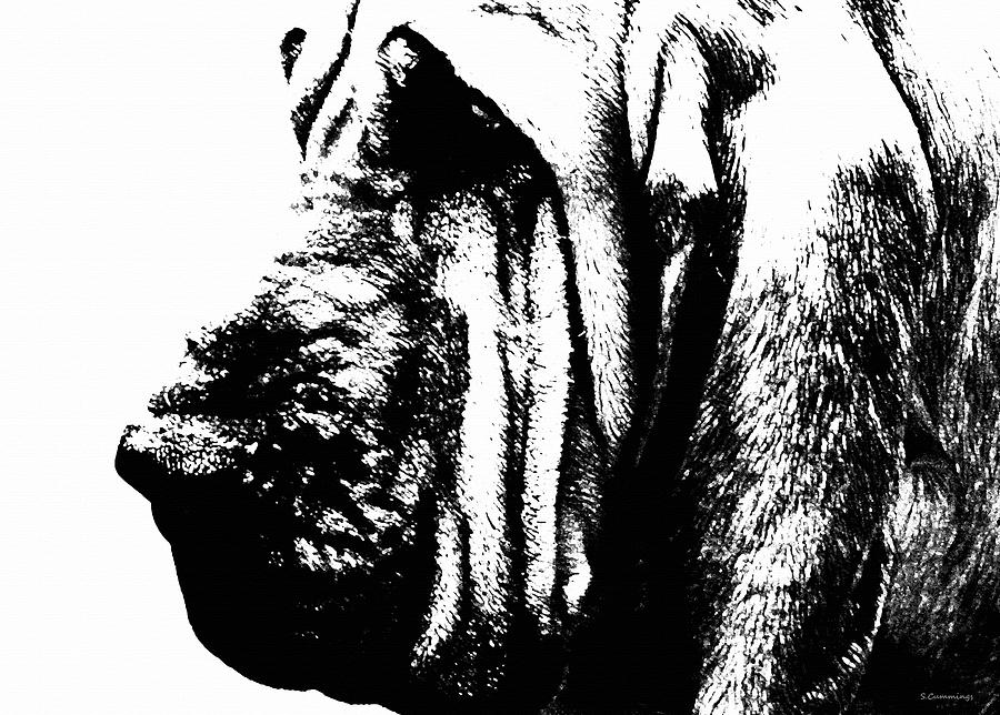 Bloodhound - Its Black And White - By Sharon Cummings Painting  - Bloodhound - Its Black And White - By Sharon Cummings Fine Art Print