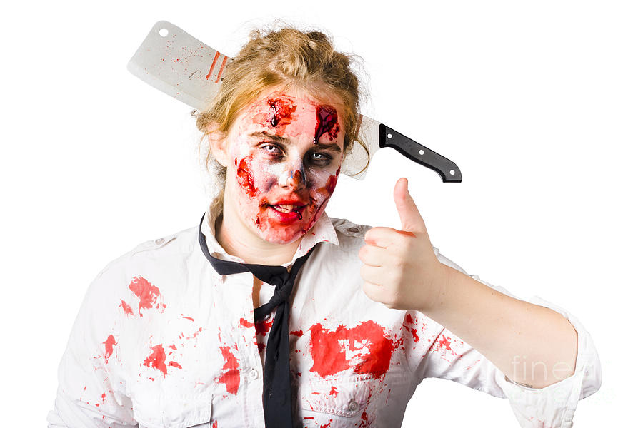 Bloody Woman With Cleaver In Head Photograph