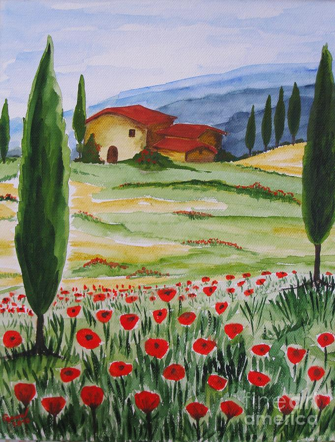 Blooming Poppy In Tuscany Painting  - Blooming Poppy In Tuscany Fine Art Print
