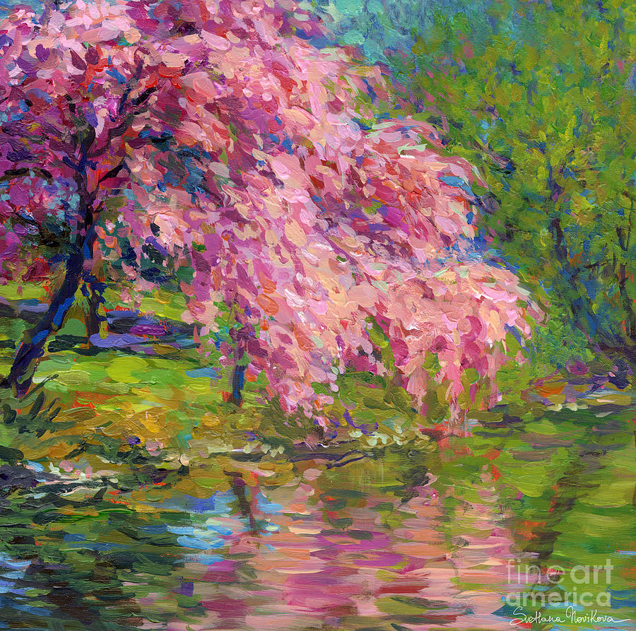 Blossoming Trees Landscape  Painting  - Blossoming Trees Landscape  Fine Art Print