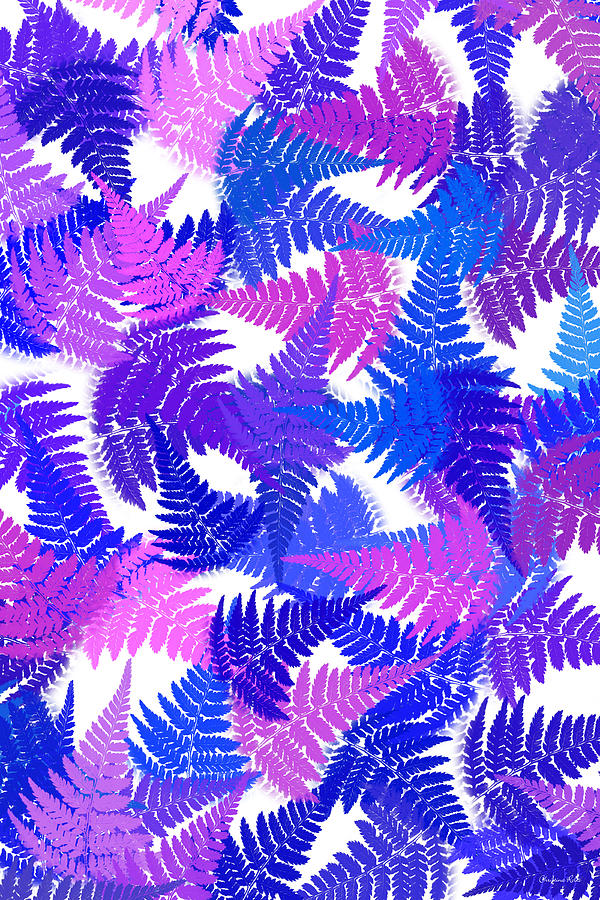 Blue Abstract Fern Leaf Pattern Art Digital Art